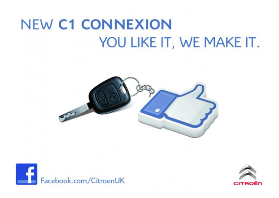 Citroen C1 Connexion, Δημιουργία ενός νέου μοντέλου μέσω Facebook