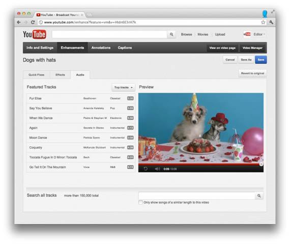 YouTube, Εμπλουτισμός με audio editing και mixing επιλογές