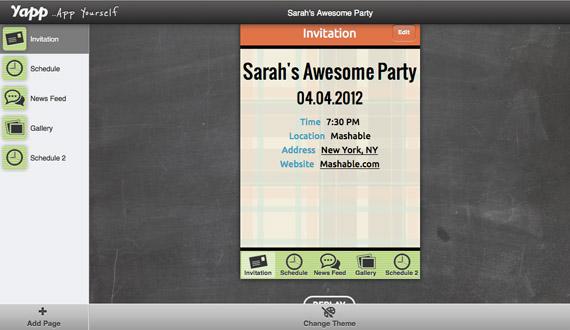 Yapp, Ένα site που δημιουργεί για εσάς το app του event σας