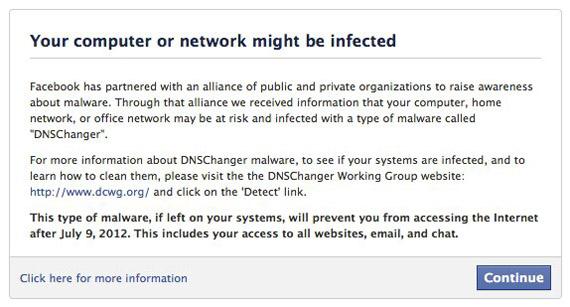 Facebook, Προειδοποιεί τους χρήστες για τον κίνδυνο του DNSChanger