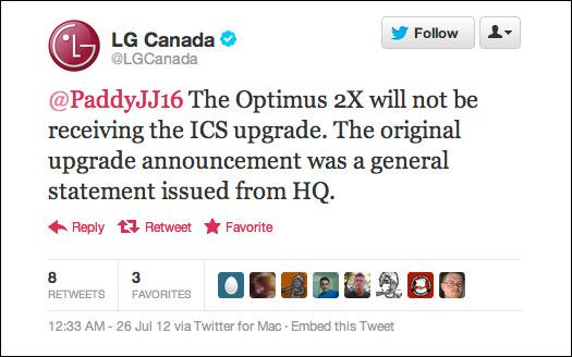 LG Optimus 2X, Δεν θα αναβαθμιστεί σε Android Ice Cream Sandwich
