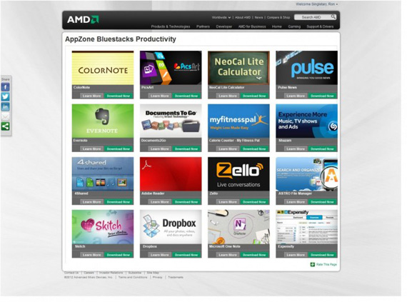 Bluestacks, Συνεργασία με την AMD για να έρθουν οι Android εφαρμογές στα PC