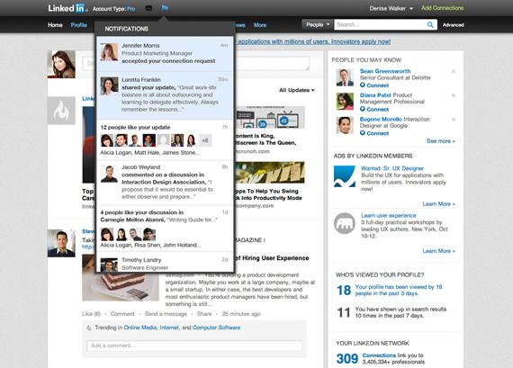 LinkedIn, Προσθέτει notifications bar όπως το Facebook