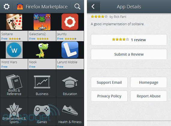 Mozilla Firefox OS Marketplace, Screenshots από το ηλεκτρονικό κατάστημα εφαρμογών