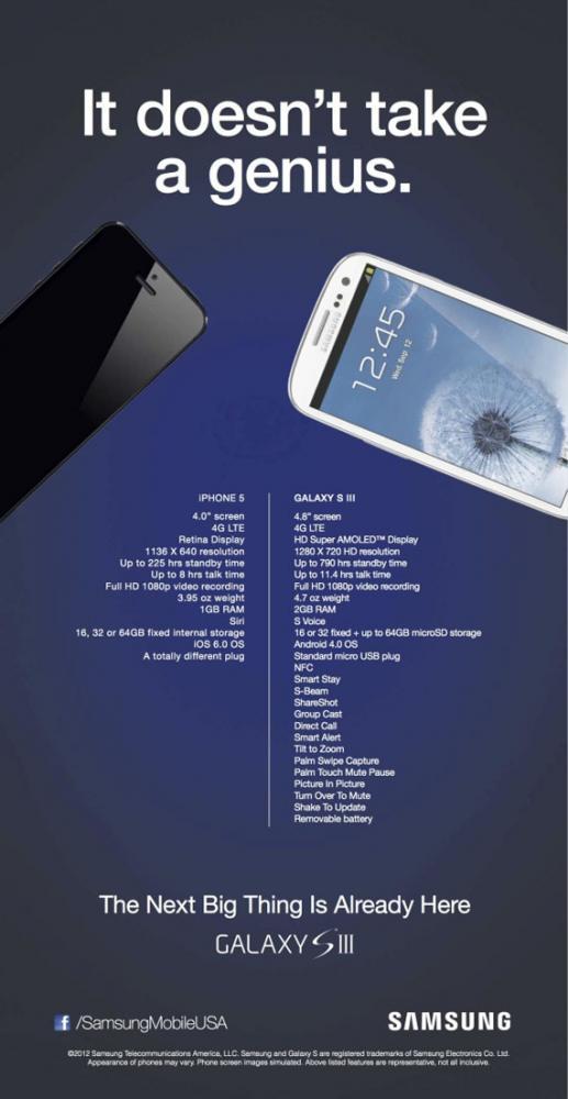 Samsung Galaxy S III vs iPhone 5, Ο πόλεμος των διαφημίσεων μαίνεται