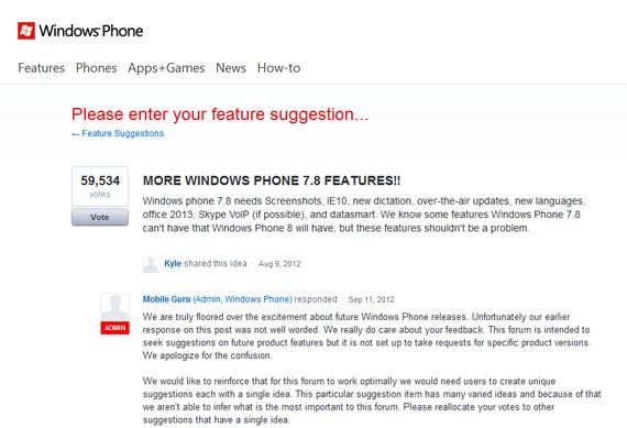 Windows Phone 7.8, Η Microsoft μας τα αλλάζει με τα suggestions για το update