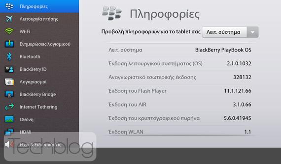 BlackBerry PlayBook, Αναβαθμίστηκε στην έκδοση PlayBook OS 2.1