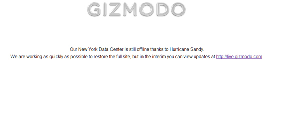 Τυφώνας Sandy, Βγάζει νοκ-άουτ πολλά διάσημα sites και blogs