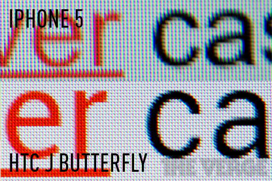 HTC J Butterfly vs. iPhone 5 display
