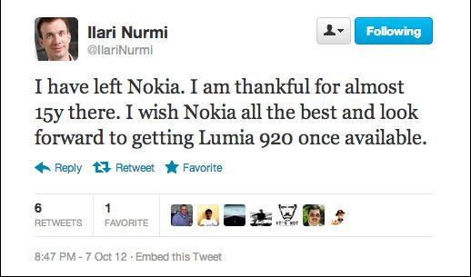 Nokia, Στέλεχος-βετεράνος αποχωρεί πριν την κυκλοφορία των Windows Phone 8