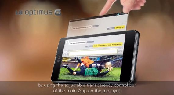LG Optimus G, Βίντεο εξηγεί τη λειτουργία QSlide