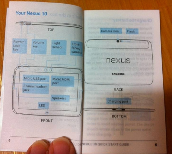 Samsung Nexus 10, Το manual μαρτυράει ότι θα είναι κατασκευής Samsung