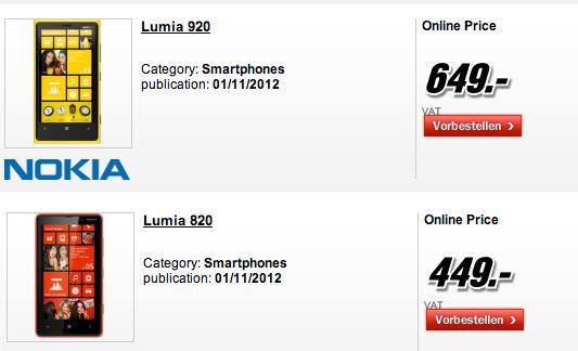 Nokia Lumia 920 και Lumia 820, Τιμές και ημερομηνία κυκλοφορίας στη Γερμανία