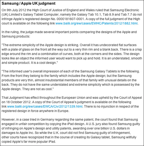 Apple UK, Απολογείται ότι η Samsung δεν αντέφραψε το iPad
