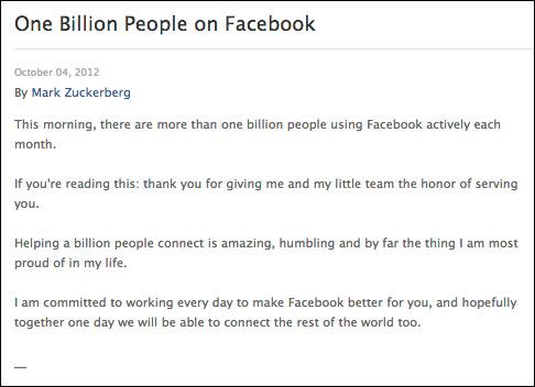 Facebook, Ξεπέρασε το 1 δισ. ενεργούς χρήστες