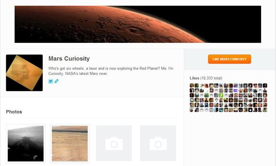 Curiosity, Κάνει check-in στον Άρη με το FourSquare