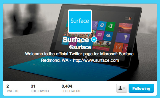 Microsoft Surface, Η ταμπλέτα με το δικό της Twitter account