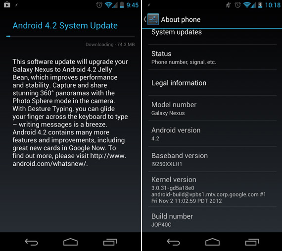 Galaxy Nexus, Κάποιοι ξεκίνησαν να αναβαθμίζονται σε Android 4.2 Jelly Bean