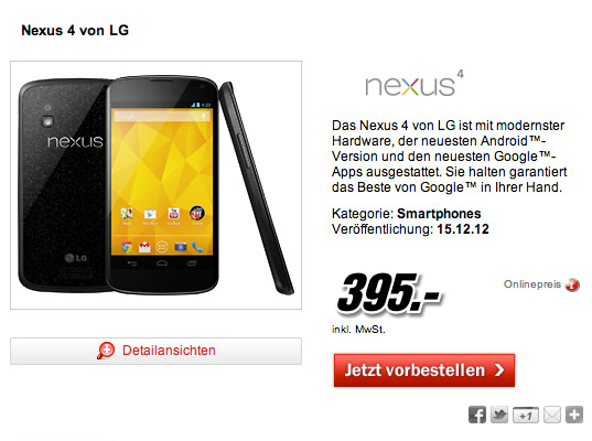 LG Nexus 4, Στα Media Markt Γερμανίας με 395 ευρώ