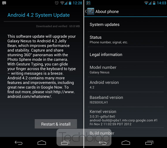Samsung Galaxy Nexus, Έλληνες αναβαθμίζουν στην έκδοση Android 4.2 Jelly Bean