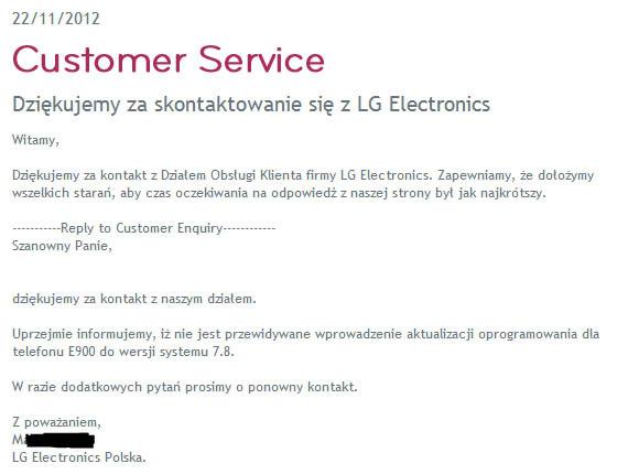LG Optimus 7, Δεν θα αναβαθμιστεί σε Windows Phone 7.8