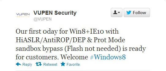 Η εταιρεία Vupen κατάφερε να χακάρει Windows 8 και IE10