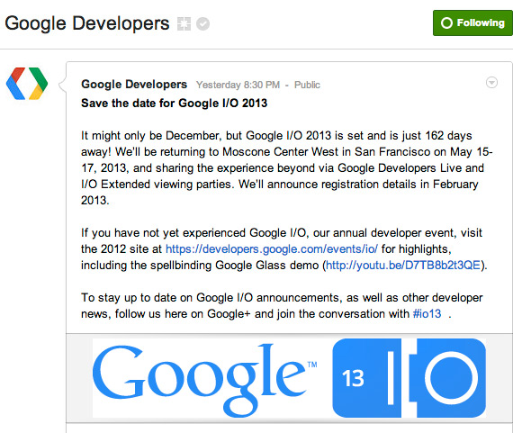 Google I/O 2013, 15-17 Μαίου στο San Francisco