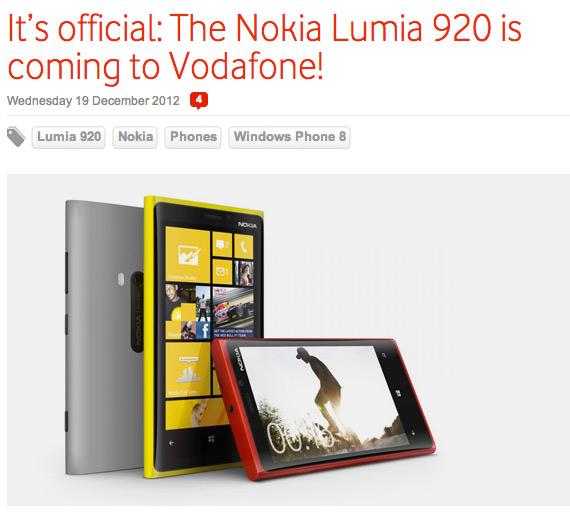 Nokia Lumia 920, Αρχές του νέου έτους το περιμένουμε Ελλάδα από τη Vodafone