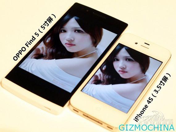OPPO Find 5, Φωτογραφίες size comparison με τα Note II, Butterfly και iPhone 4S
