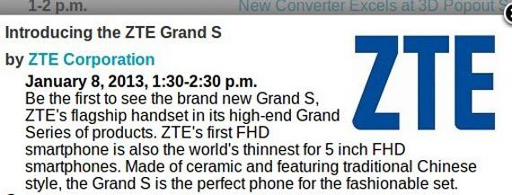 ZTE Grand S, Με οθόνη 5 ιντσών Full HD 1080p έρχεται στην έκθεση CES 2013