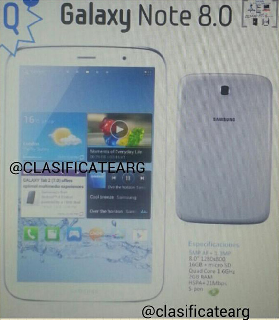 Samsung Galaxy Note 8.0 leak