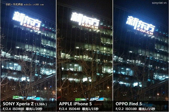 Sony Xperia Z vs iPhone 5 vs OPPO Find 5 photo samples