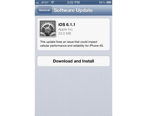 iOS 6.1.1 update