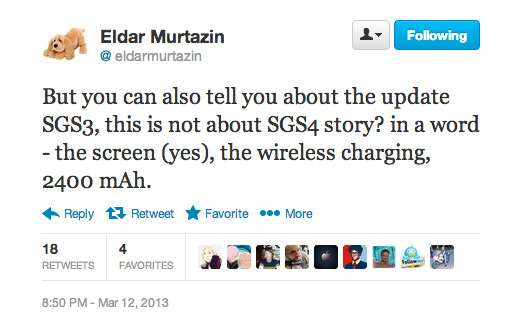 Eldar Murtazin Galaxy S III updated Twitter