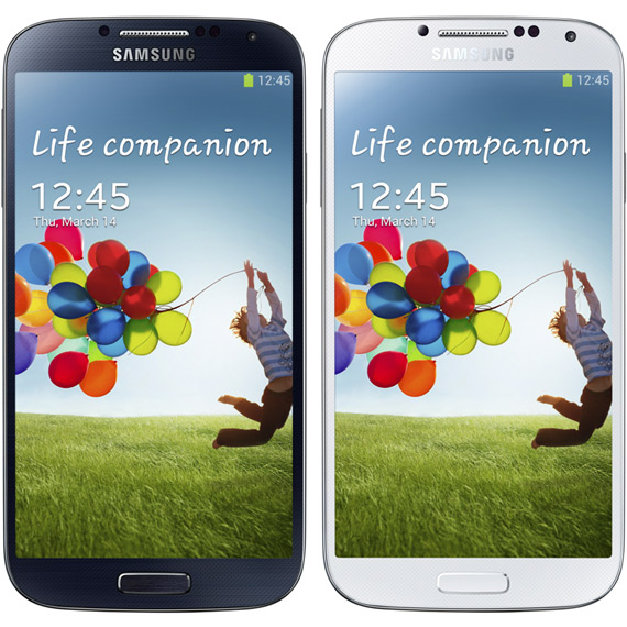 Samsung Galaxy S 4 blue and white
