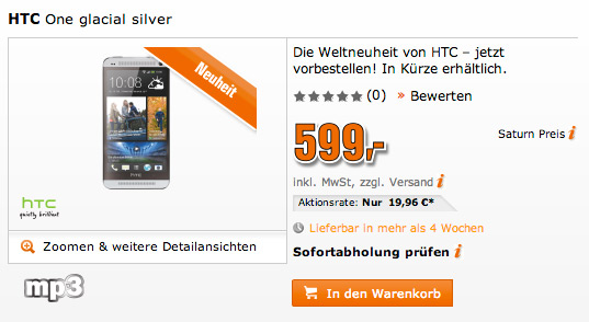 HTC One Saturn price