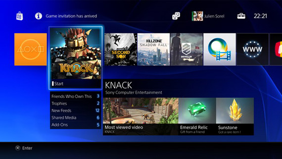PlayStation 4 menu