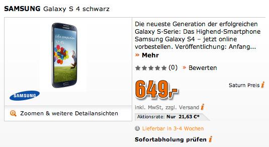 Samsung Galaxy S 4 Saturn price