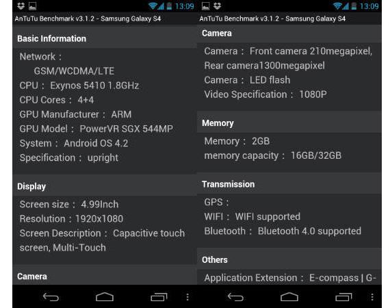 Samsung Galaxy S IV AnTuTu specs