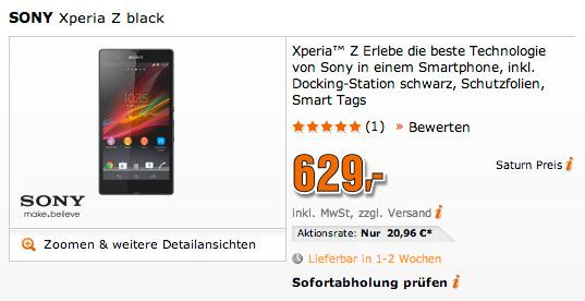 Sony Xperia Z Saturn price