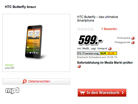 HTC Butterfly Germany 599 euro