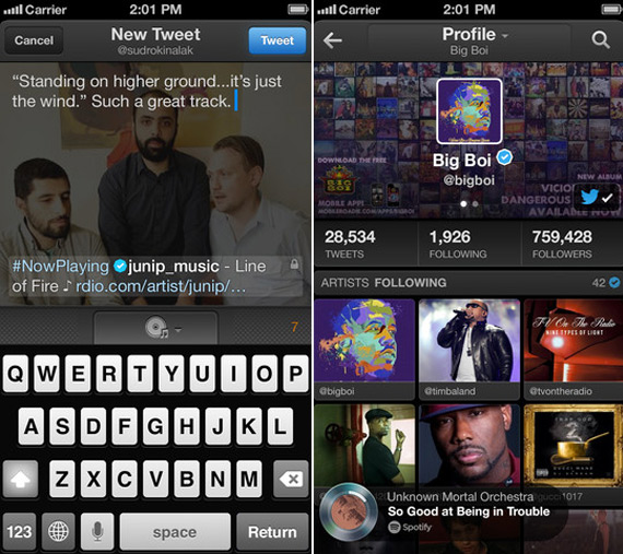 Twitter music application
