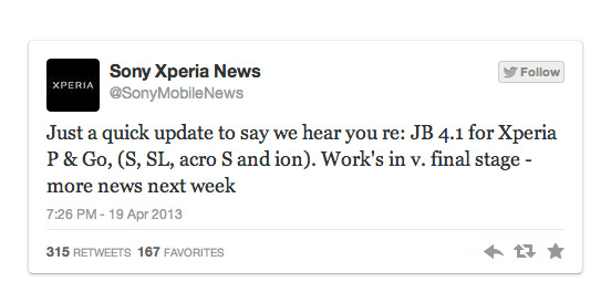 Xperia tweeter update