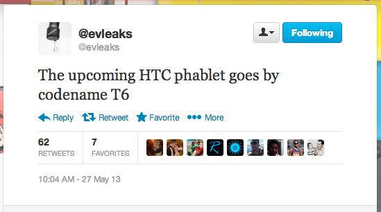 HTC T6 phablet twitter evleaks