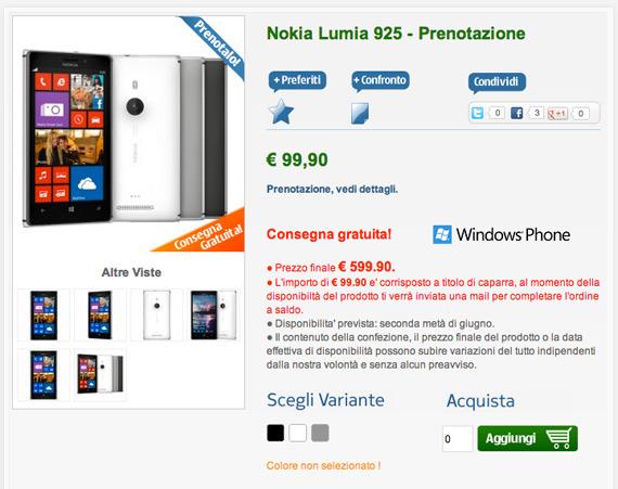 Nokia Lumia 925 Italia price