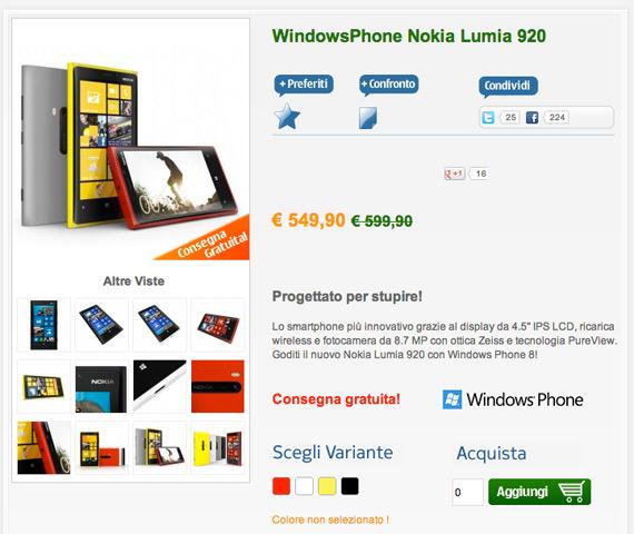 Nokia Lumia 920 Italia price