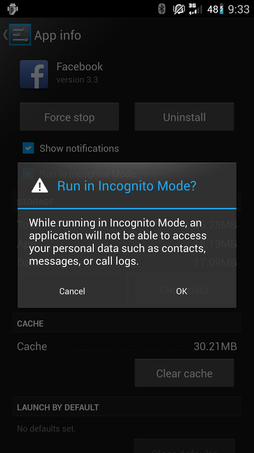 Incognito mode cyanogenmod