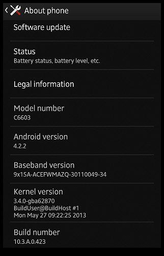 Sony Xperia Z Android 4.2.2 jelly bean