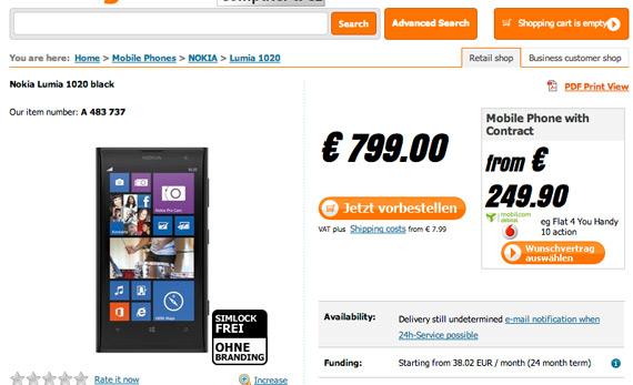 Nokia Lumia 1020 τιμή 799 ευρώ