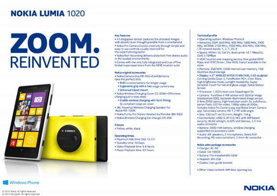 Nokia Lumia 1020 specs sheet